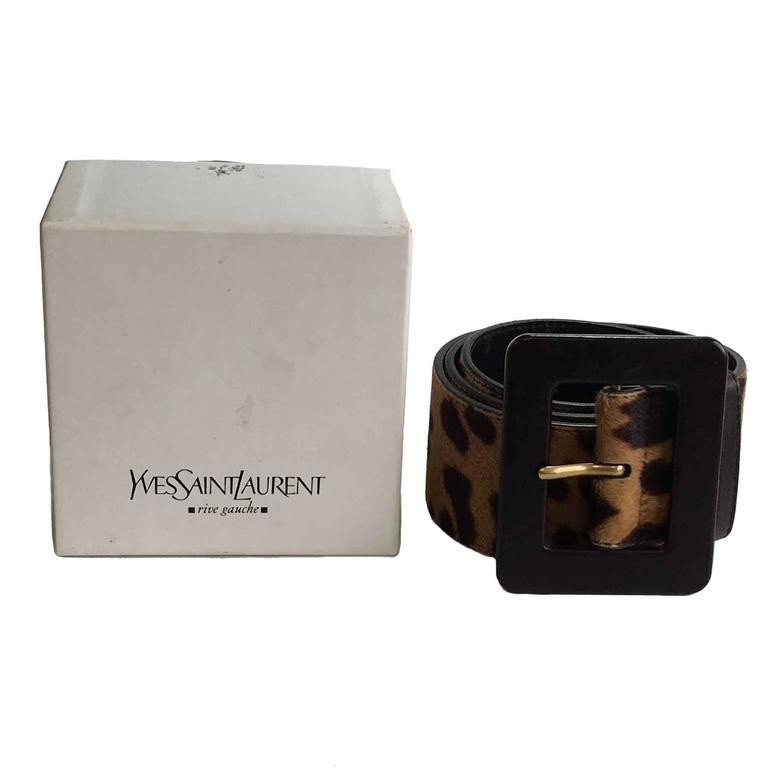 YSL YVES SAINT LAURENT T85 belt in leopard-style foal 7