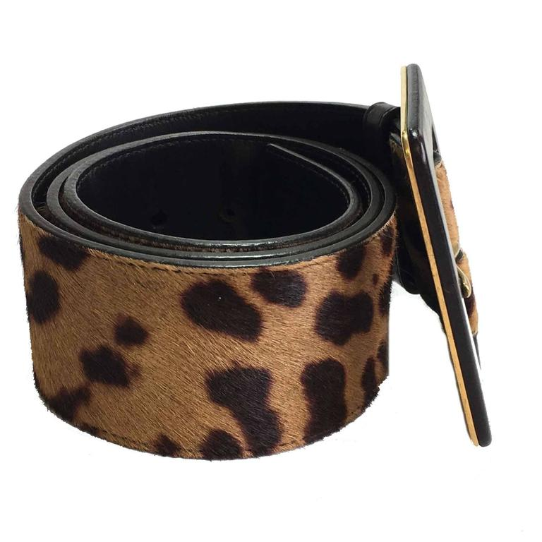 YSL YVES SAINT LAURENT T85 belt in leopard-style foal In Excellent Condition For Sale In Paris, FR