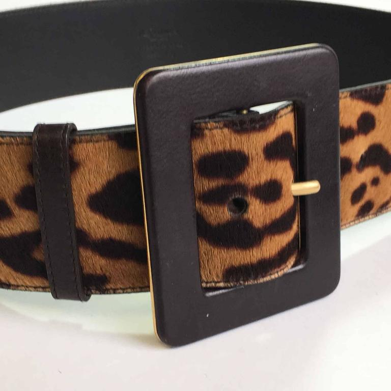 YSL YVES SAINT LAURENT T85 belt in leopard-style foal 5