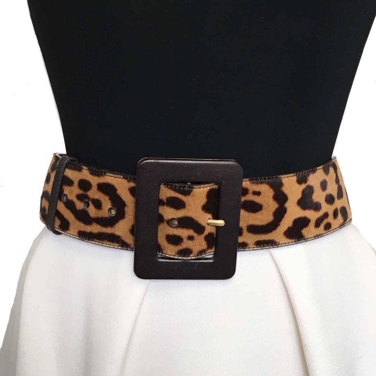 YSL YVES SAINT LAURENT T85 belt in leopard-style foal 3