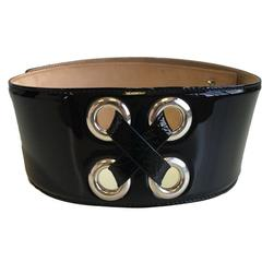 Alexander McQUEEN Size 75 Black Patent Leather Belt