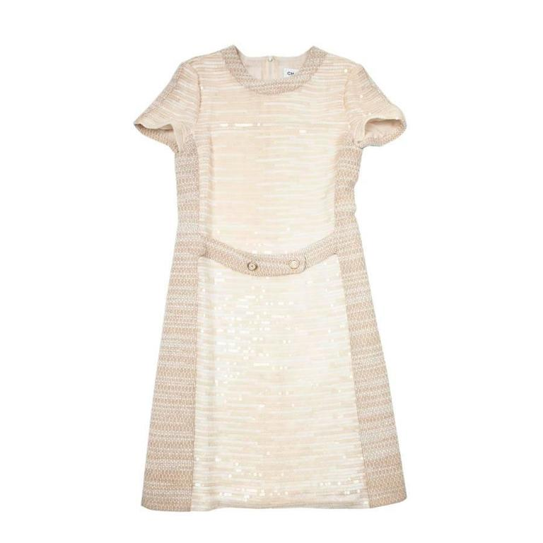 CHANEL Dress Size 40 FR in Beige Wool and Sequins