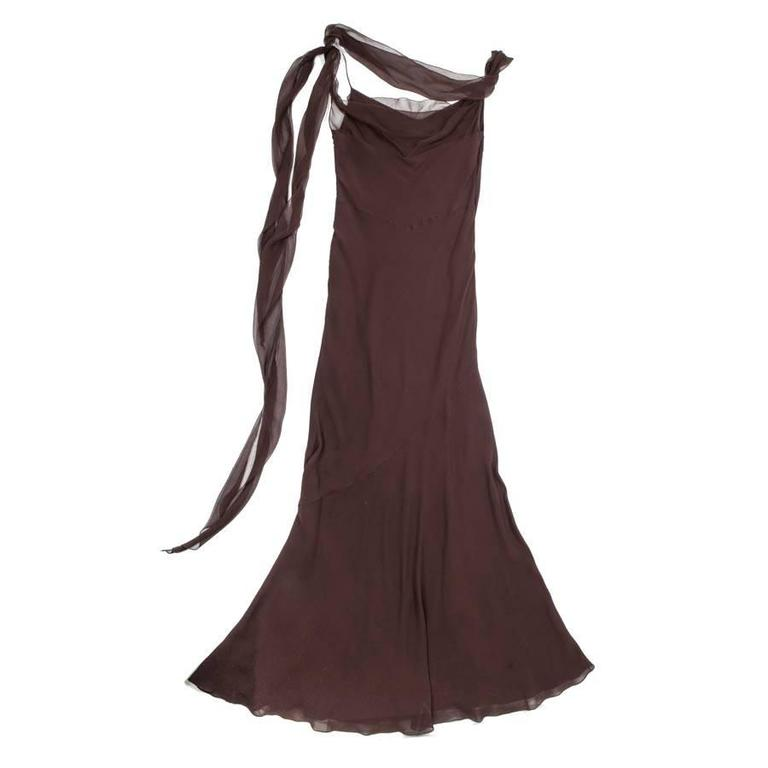 Collector CHRISTIAN DIOR Evening Dress Size 40 FR in Brown Silk