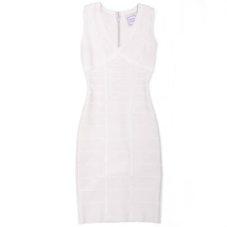 Hervé Léger XS Pearl Gray Bandage Dress