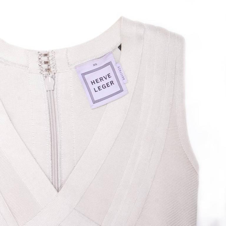 Hervé Léger XS Pearl Gray Bandage Dress 2