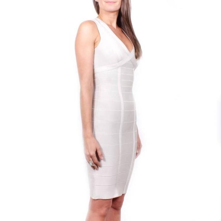 Hervé Léger XS Pearl Gray Bandage Dress 3