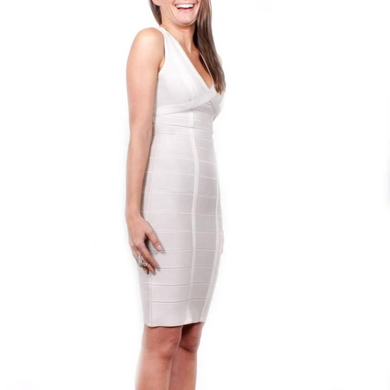 Hervé Léger XS Pearl Gray Bandage Dress 4
