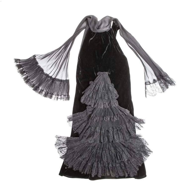 JEAN PAUL GAULTIER Size 36FR Evening Dress in Silk Velvet and Black Lace