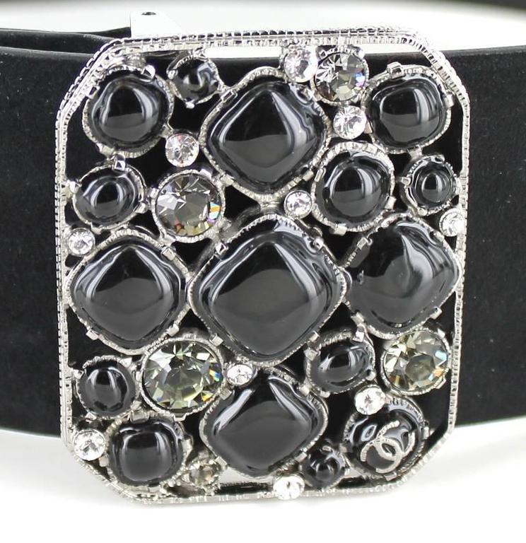 CHANEL Belt Size 80 in Black Velvet Calfskin Black and Silver Plated Buckle 3