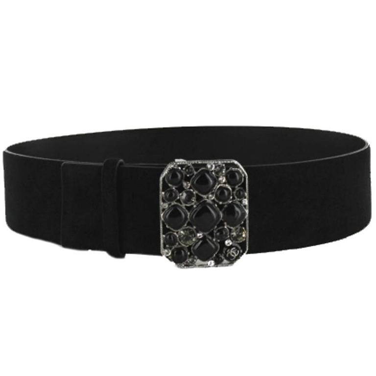 CHANEL Belt Size 80 in Black Velvet Calfskin Black and Silver Plated Buckle 2