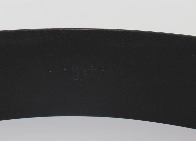 CHANEL Belt Size 80 in Black Velvet Calfskin Black and Silver Plated Buckle 5