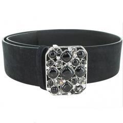 CHANEL Belt Size 80 in Black Velvet Calfskin Black and Silver Plated Buckle