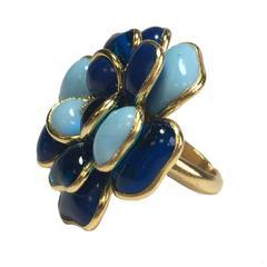 Marguerite de Valois Camellia Ring Size 50EU in Blue Molten Paste and Gilt Metal