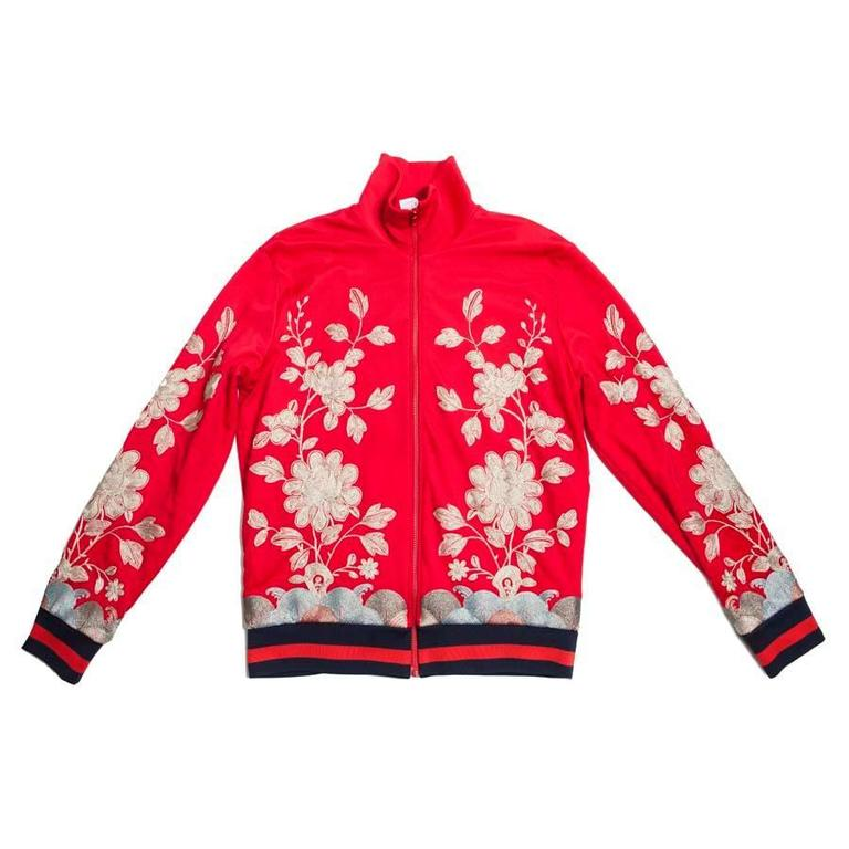 GUCCI Red Jacket Size L in Jersey and Flower Embroidery For Sale