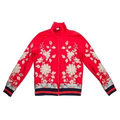 GUCCI Red Jacket Size L in Jersey and Flower Embroidery