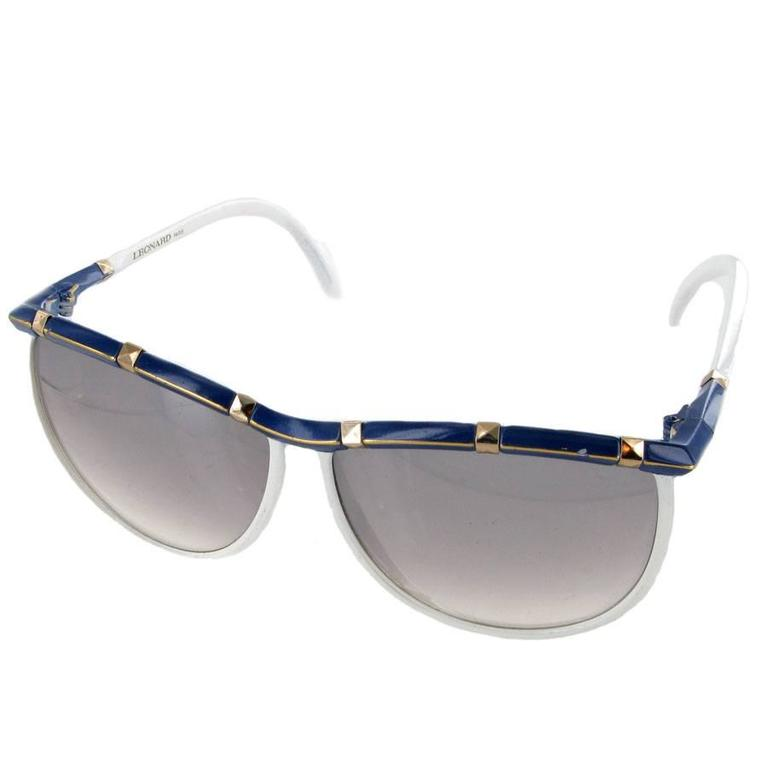 Vintage LEONARD Sunglasses in White and Blue Acetate