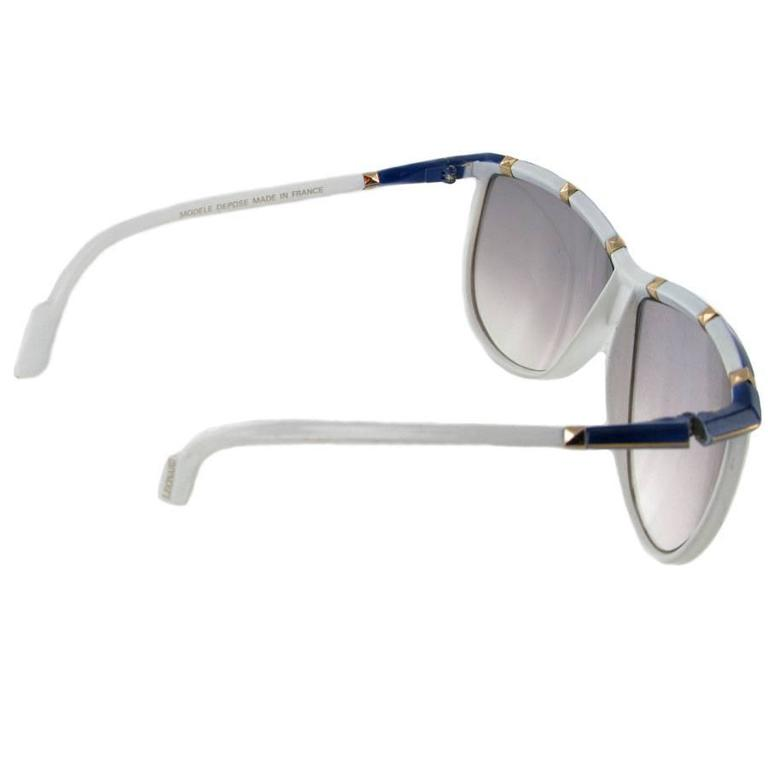 Vintage LEONARD Sunglasses in White and Blue Acetate For Sale at 1stdibs