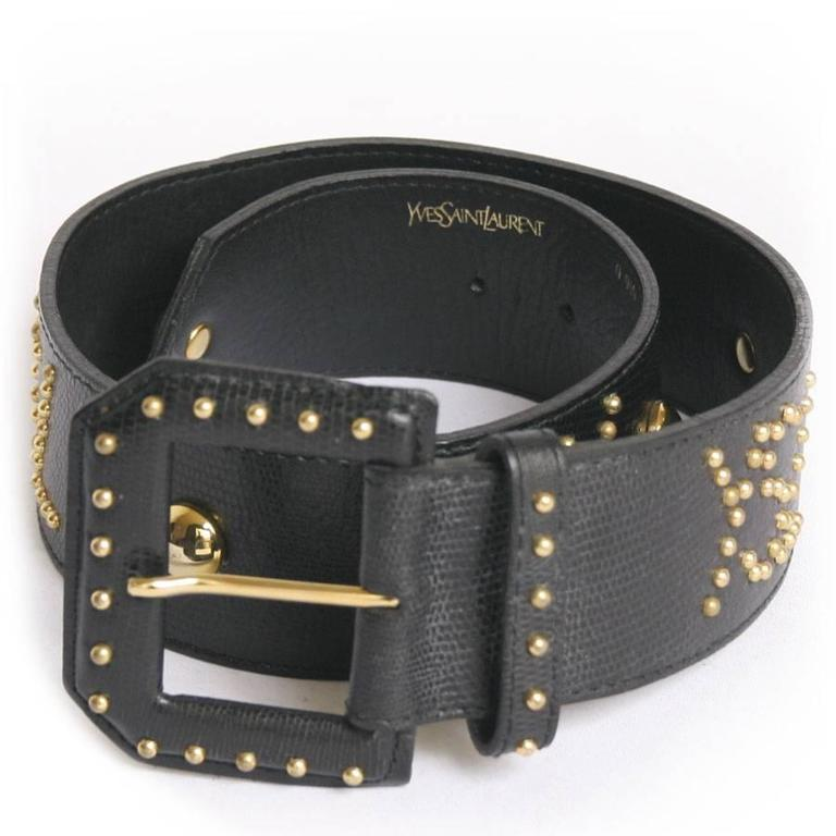 Vintage Yves Saint Laurent Studded Belt Size 70fr In Black
