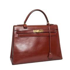 HERMES Vintage Kelly 32 Bag in Brown Brick Leather