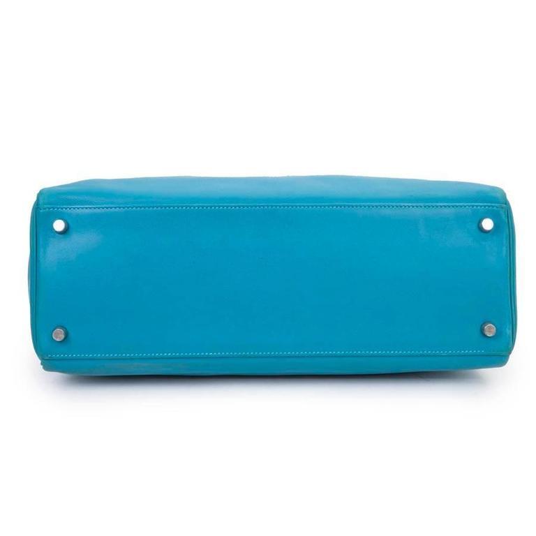Women's HERMES Kelly II 35 Bag in Izmir Blue Swift Calfskin Leather with Shoulder Strap For Sale