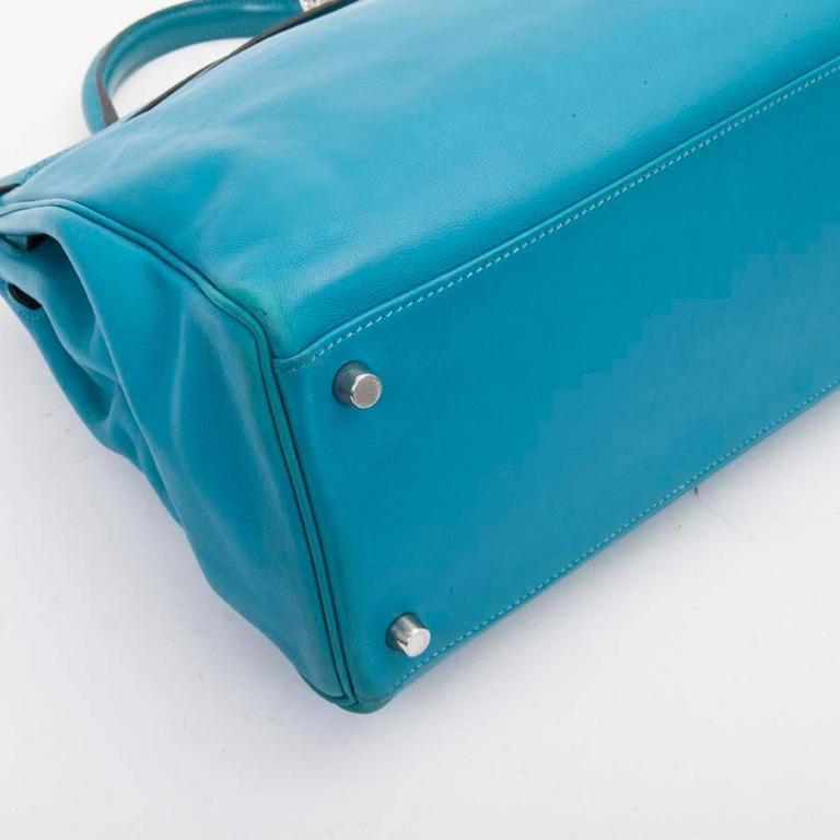 HERMES Kelly II 35 Bag in Izmir Blue Swift Calfskin Leather with Shoulder Strap For Sale 1