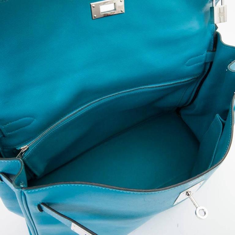 HERMES Kelly II 35 Bag in Izmir Blue Swift Calfskin Leather with Shoulder Strap For Sale 5