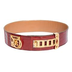 Couture HERMES Belt in Red Crocodile Porosus