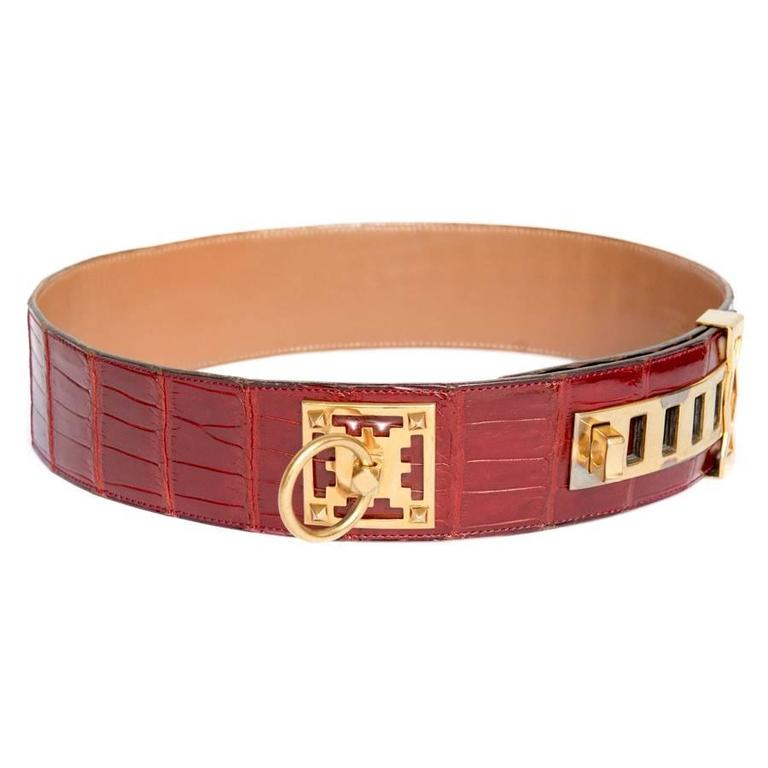 84a534a3abd3 Very rare Hermes belt, probably the ancestor of the Medor, in red embers  crocodile
