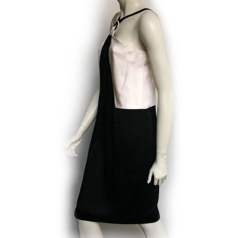 CHANEL Cocktail Dress Size 42FR in Bicolor White and Black Satin  4