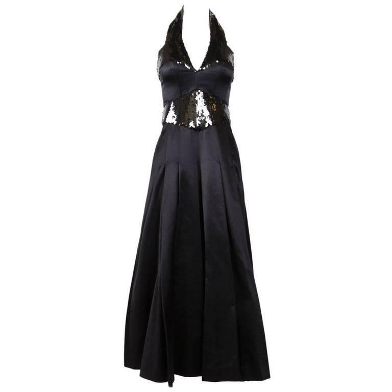 CHANEL Evening Dress Size 36 FR in Black Silk Sequin