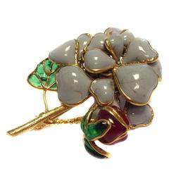MARGUERITE DE VALOIS Brooch in Molten Glass and Gold Plated Metal
