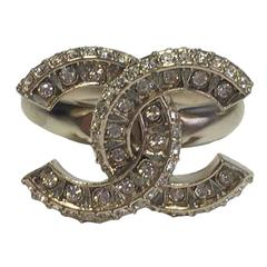 CHANEL CC ring Size 52FR in Rhinestones and Golden Plated Metal