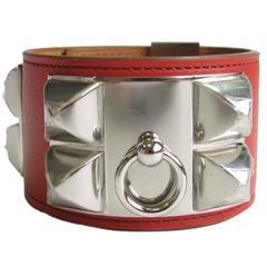 Hermes Calf Leather Tadelakt Sanguine Collier de Chien CDC Cuff Bracelet