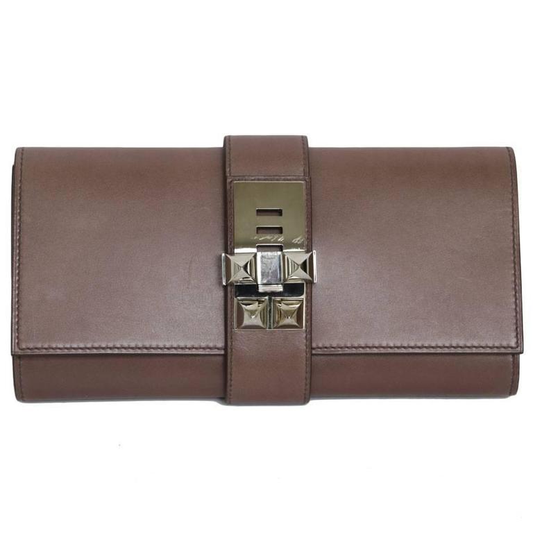 HERMES Sandalwood Smooth Leather Medor Clutch Bag