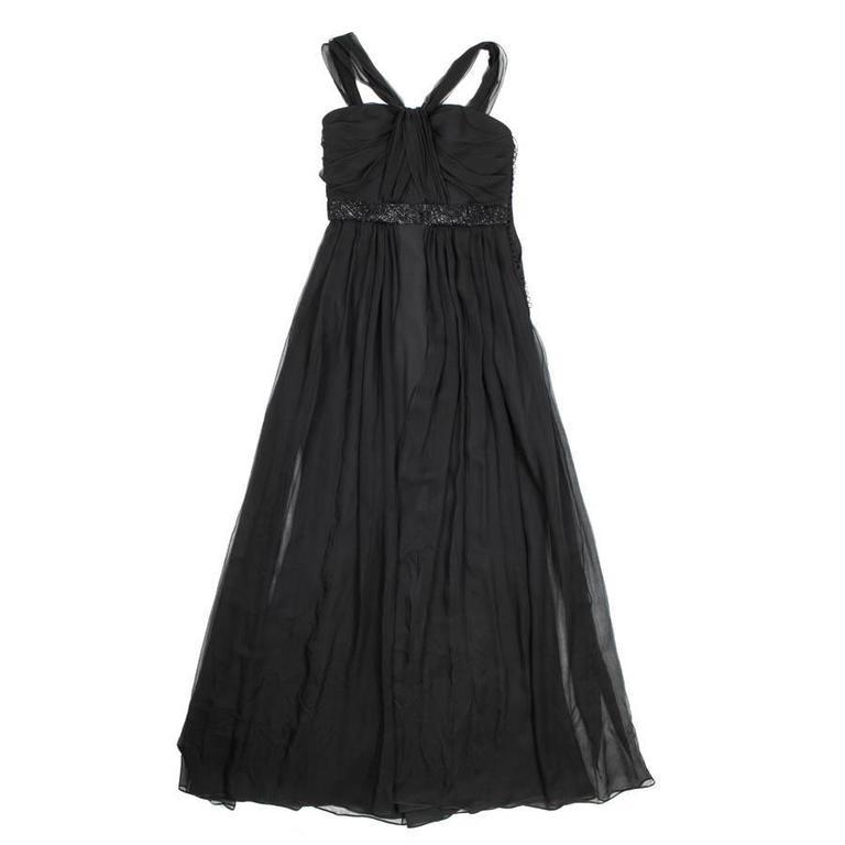 CHRISTIAN DIOR Evening Dress Size 38FR in Black Silk