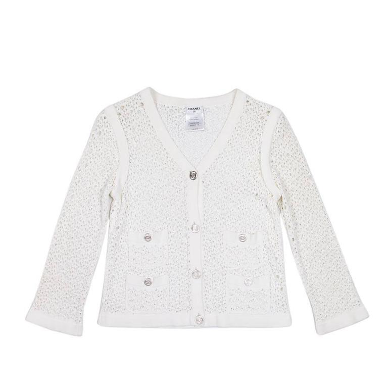 CHANEL White Knit Cardigan Size 36FR