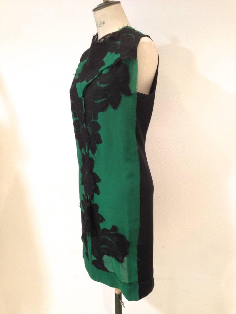 7b0c4b4d8312 LANVIN Sleeveless Cocktail Dress 'Les 10 ans' in Black and Green Silk Size  36FR For Sale at 1stdibs