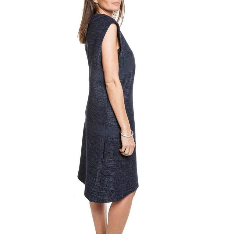 CHANEL Blue Cotton and Wool Dress Size 50FR In Excellent Condition For Sale In Paris, FR