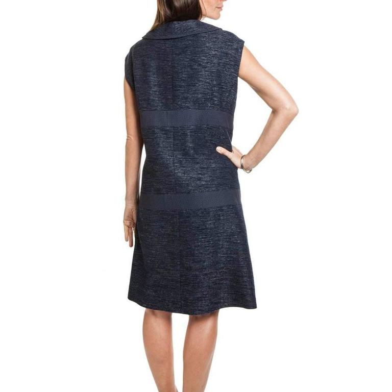 Women's CHANEL Blue Cotton and Wool Dress Size 50FR For Sale