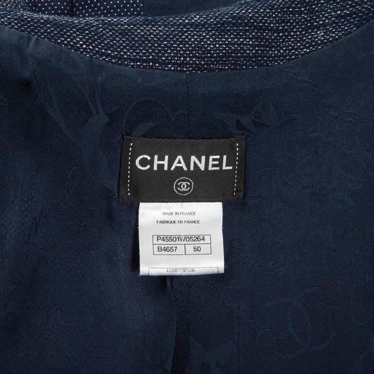 CHANEL Blue Cotton and Wool Dress Size 50FR For Sale 4