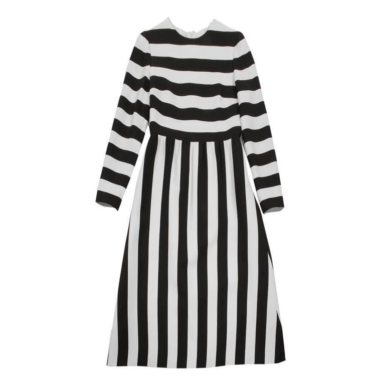 VALENTINO Black and White Striped Wool and Silk Long Dress Size 40IT For Sale