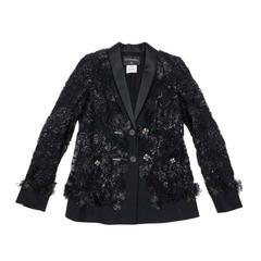 CHANEL Black Lesage Lace Vest Size 36FR