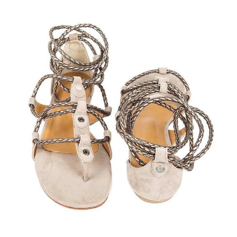 HERMES Sandals Size38.5 fr in gray velvet calf