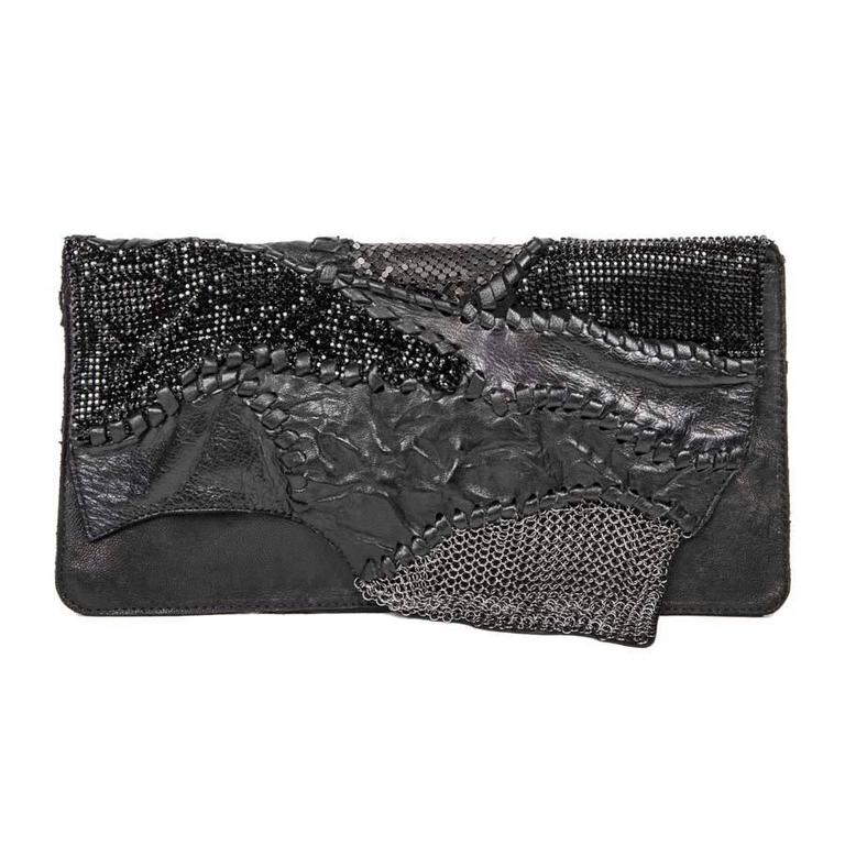 BALMAIN Evening Clutch in black Leather Patchwork