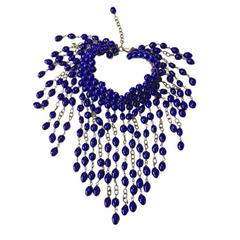Marguerite de Valois Necklace Couture in Beads of Sapphire Colored Molten Glass