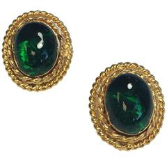 CHANEL Vintage Gold and Green Cabochon Clip Earrings