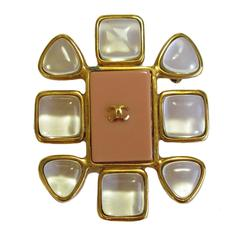 CHANEL Brooch in Gilt Metal, Transparent Molten Glass and Salmon Colored Resin