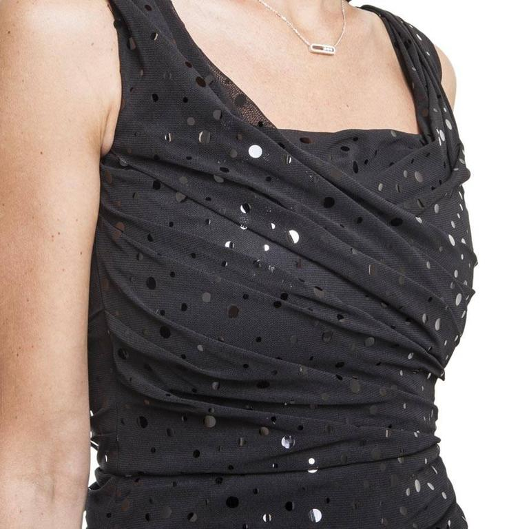 DOLCE & GABBANA Dress Size 38FR in Black Polyester with Shiny Polka Dots For Sale 1