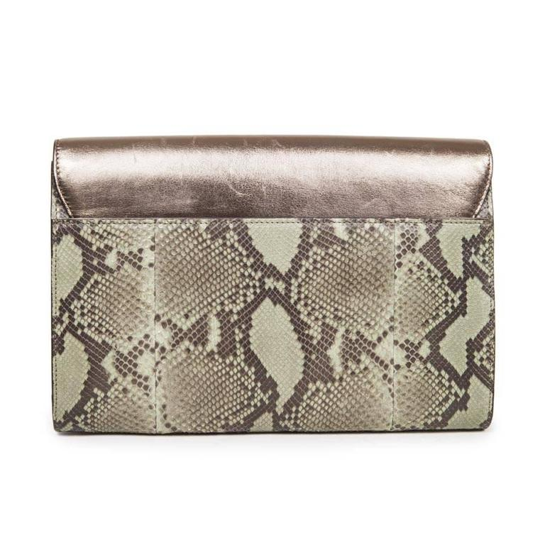 Gray GUCCI Clutch in Green Bronze Colored Python For Sale