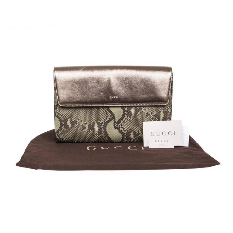 GUCCI Clutch in Green Bronze Colored Python For Sale 5